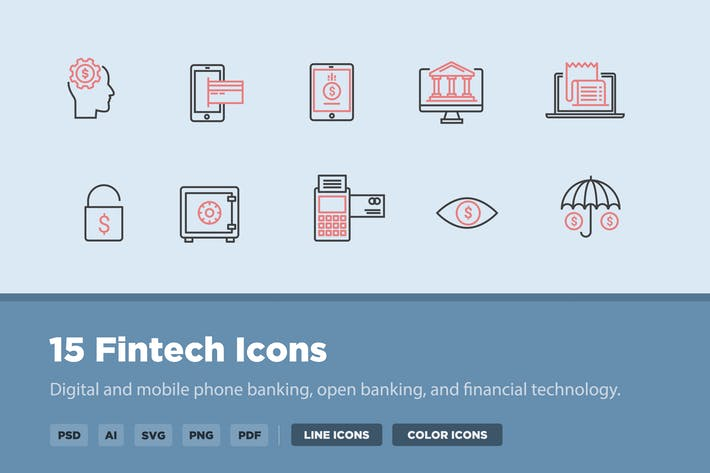 Thumbnail for 15 Fintech Icons