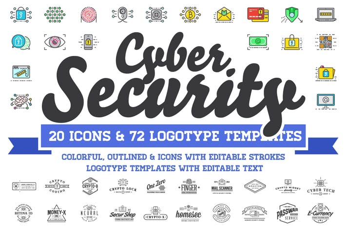 Thumbnail for Cyber Security Logos and Icons Set