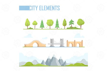 City elements - vector  isolated set