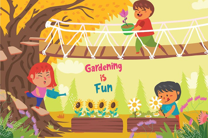 Cover Image For Gardening is Fun - Vector Illustration