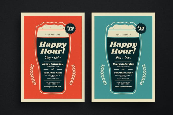 Thumbnail for Retro Beer Happy Hour Event Flyer