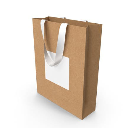 Craft and White Bag with White Ribbon Handles