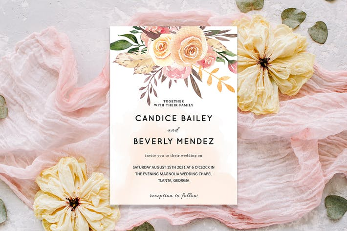 Thumbnail for Pale Pink Wedding Invitation Template