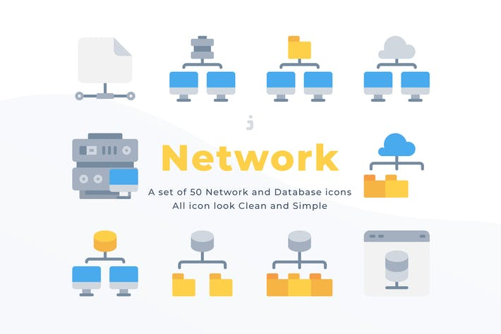 Thumbnail for 50 Network and Database icons - Flat
