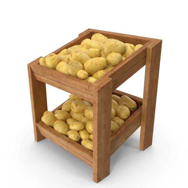 Wooden Merchandise Shelf With Clean Potatoes