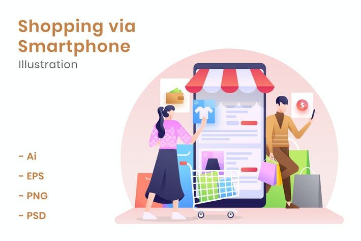 Thumbnail for Shopping via Smartphone Illustration