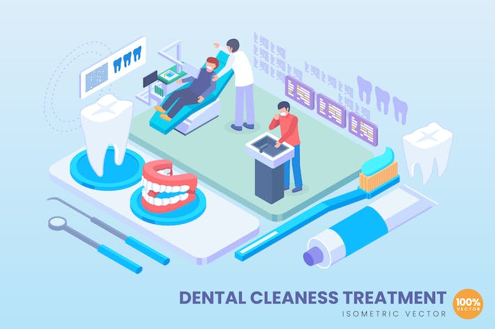Thumbnail for Isometric Dental Cleaness Treatment Concept