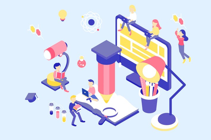 Thumbnail for Online Education Isometric Illustration