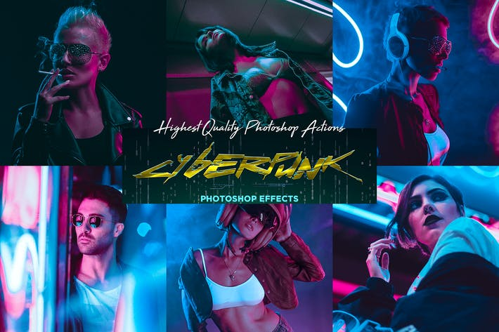 Thumbnail for CyberPunk PRO Photoshop Actions