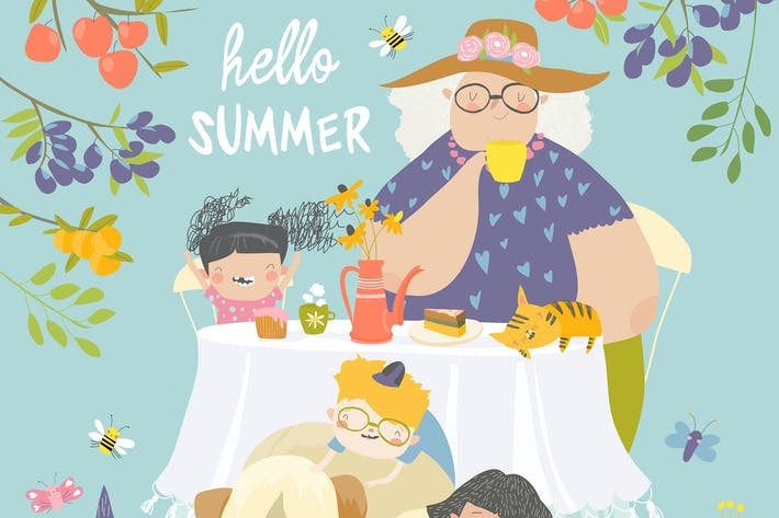 Thumbnail for Granny and her grandchildren have lunch in blossom
