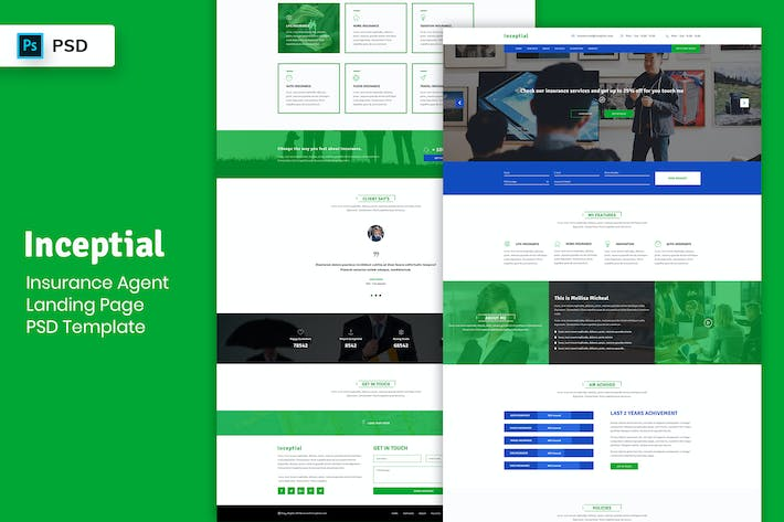 Thumbnail for Insurance Agent - Landing Page PSD Template