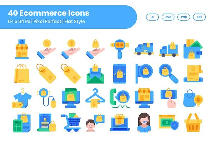 40 E-Commerce-Icons Set - Flat