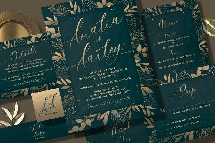 Thumbnail for Leaves Wedding Invitation