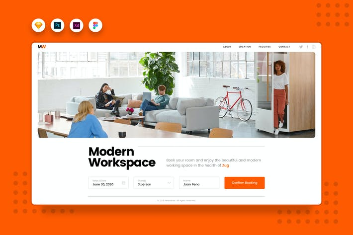 Thumbnail for DailyUI.V4 Working Space Booking Website Landing
