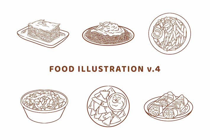 Thumbnail for Food Illustration V.4 (Outline Version)
