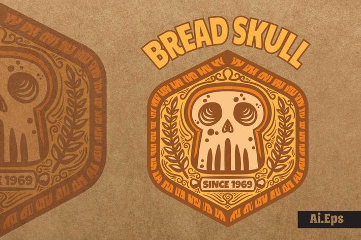 Thumbnail for Bread Skull - Mascot Logo
