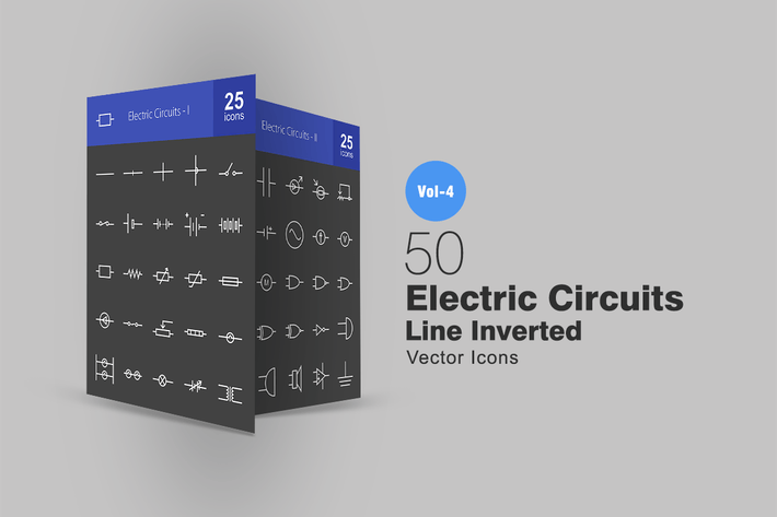 Thumbnail for 50 Electric Circuits Line Inverted Icons