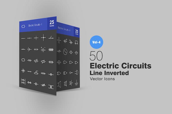 Thumbnail for 50 электрических цепей линии инвертированные Иконки