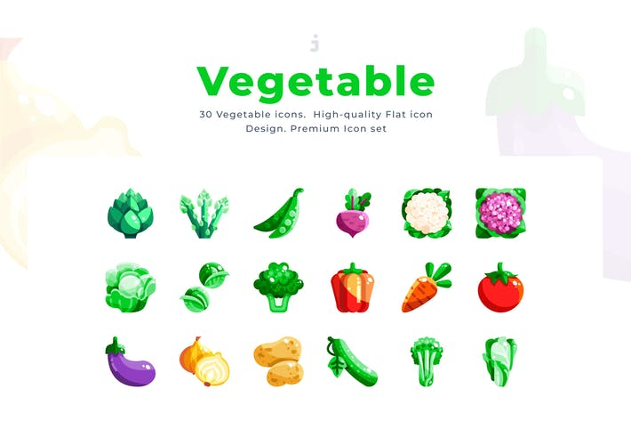 Thumbnail for 30 Vegetable Icon set - Flat