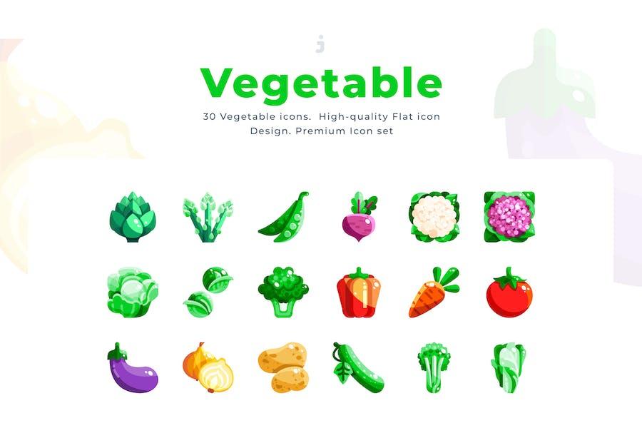 30 Vegetable Icon set - Flat