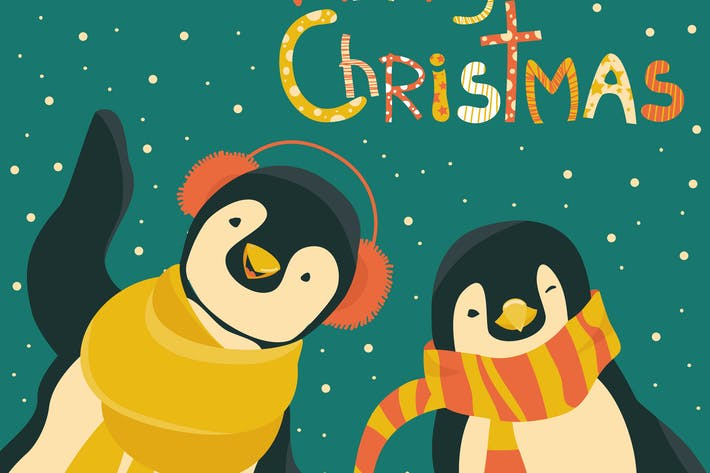 Thumbnail for Funny penguins friends celebrating Christmas