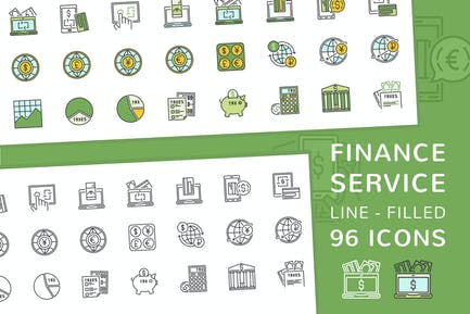 Finance Service Line and Filled Icons