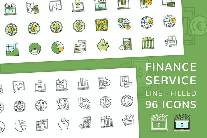 Thumbnail for Finance Service Line and Filled Icons
