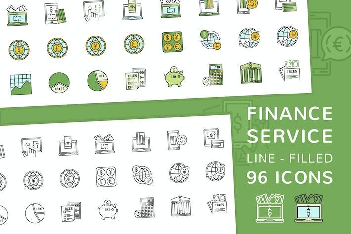 Thumbnail for Línea de servicio financiero e Íconos rellenos