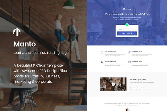 Thumbnail for Manto - Lead Generation PSD Landing Page Template