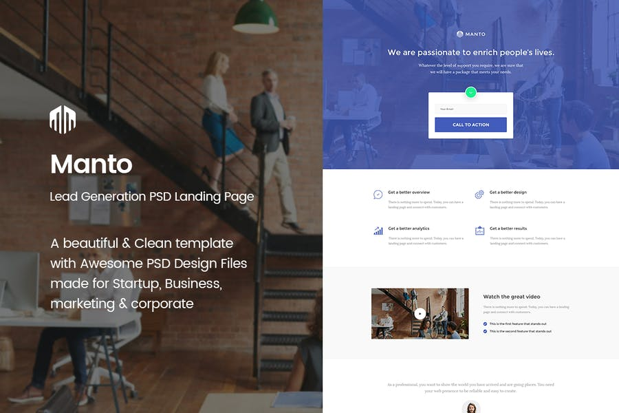 Manto - Lead Generation PSD Landing Page Template