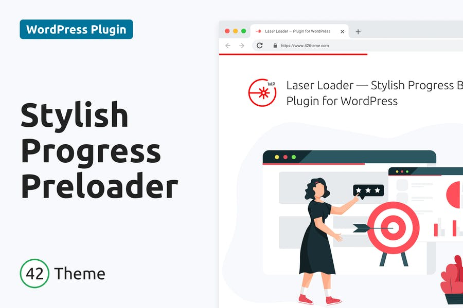 Cargador láser: precargador de barra de progreso elegante