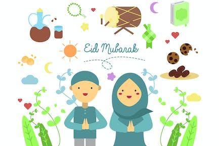 Eid Al Fitr Doodle Character