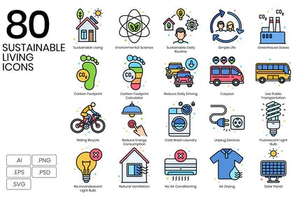 80 Sustainable Living Icons - Vivid Series