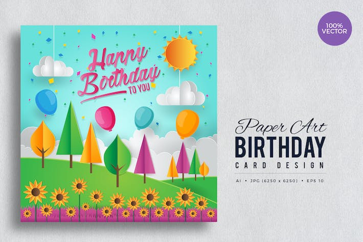 Thumbnail for Paper Art Happy Birthday Vector Card Vol.4