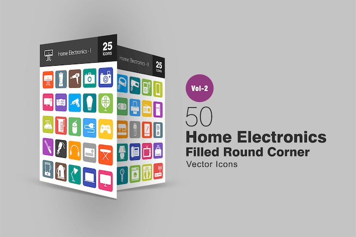 Thumbnail for 50 Home Electronics Filled Round Corner Icons
