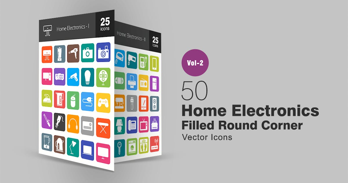 Download 50 Home Electronics Filled Round Corner Icons by Unknow