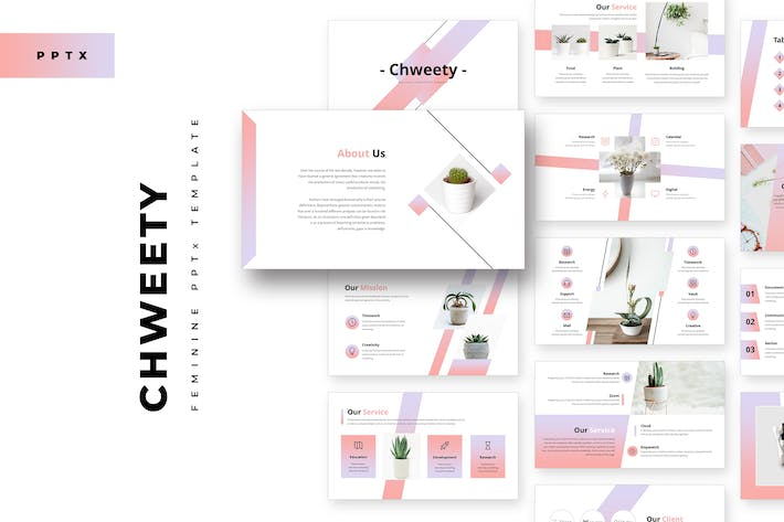 Thumbnail for Chweety Feminine Powerpoint Template