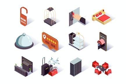Hotel Infrastructure Isometric Icons Set