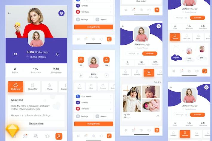 Thumbnail for Mom-life mobile app UI Kit