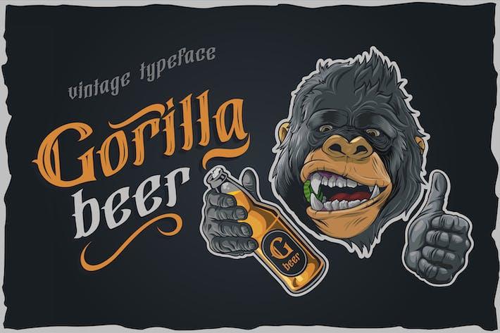 Cerveza de gorila - tipografía gótica