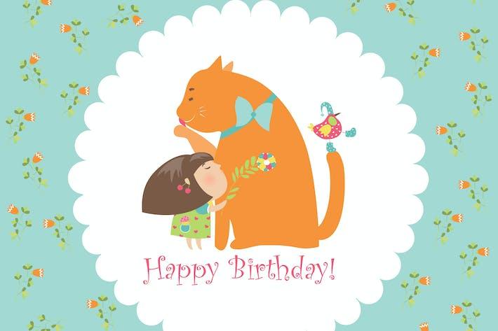 Thumbnail for Little girl hugging her kitten. Vector