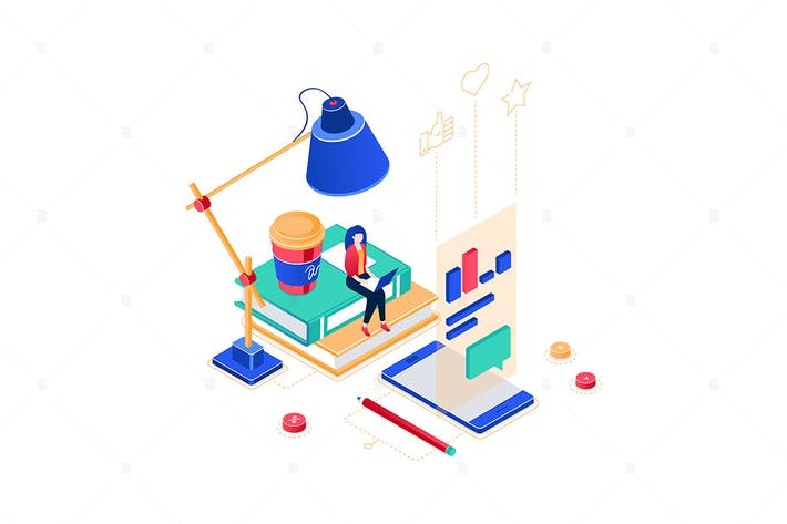 Thumbnail for Freelance worker - colorful isometric illustration