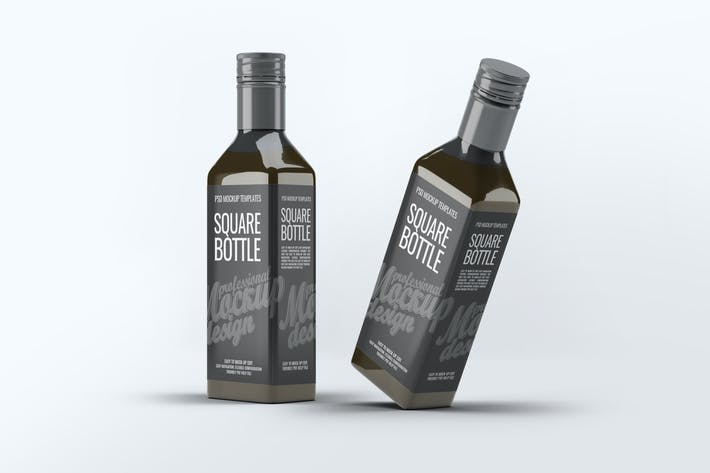 Thumbnail for Square Glass Bottle Mock-Up
