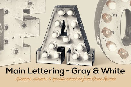 Marquee Light Bulbs Chaos 12 - Gray White Letters