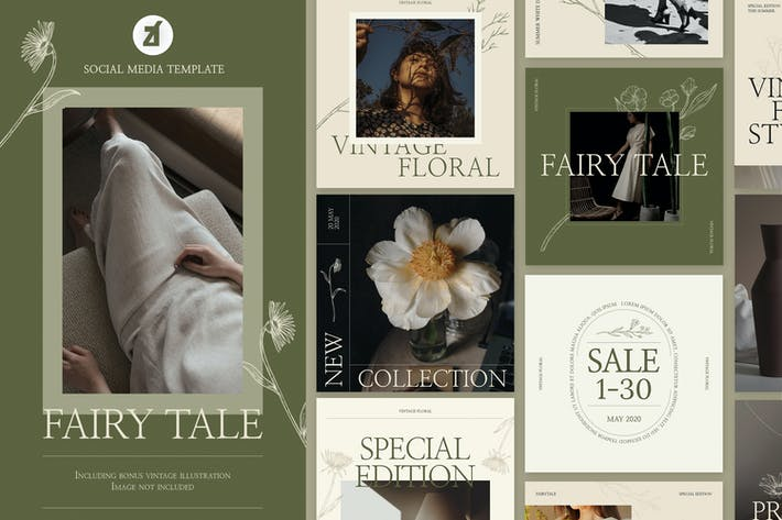 Thumbnail for Fairy tales social media graphic templates