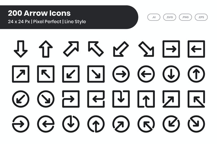 Thumbnail for 200 Arrow Icons Set - Line