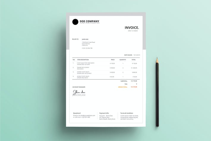 Cover Image For Invoice Business With Grey Background