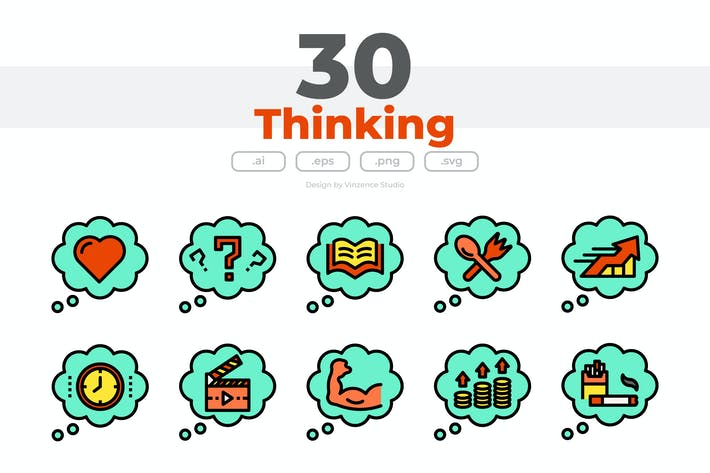 Thumbnail for 30 Thinking Icons
