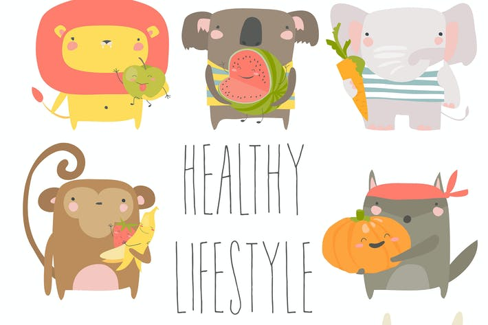 Thumbnail for Cartoon animals holding fruits and vegetables on w