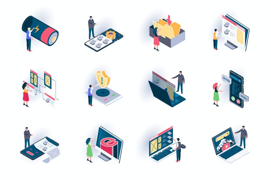 User Interface Isometric Icons Pack